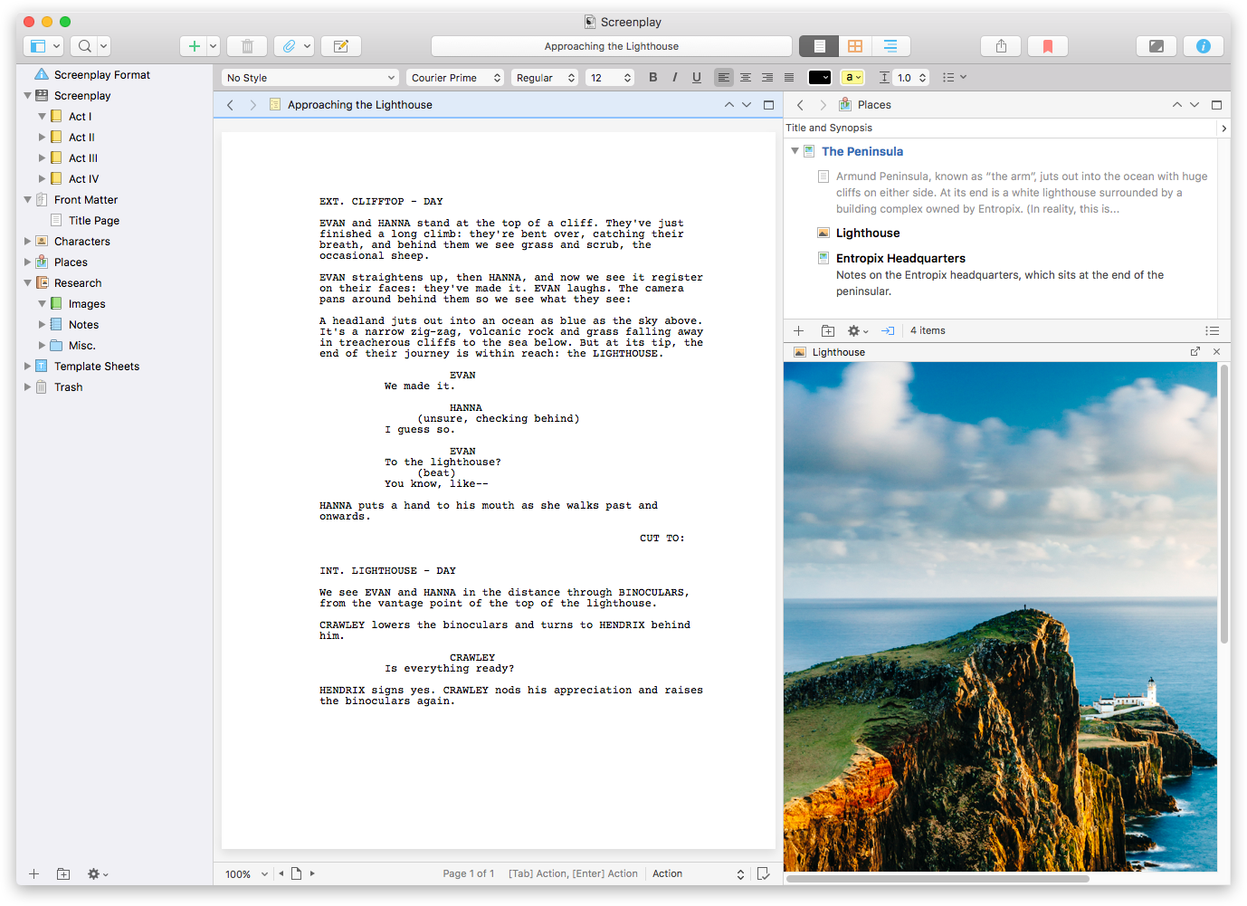 An example of Scrivener's layout
